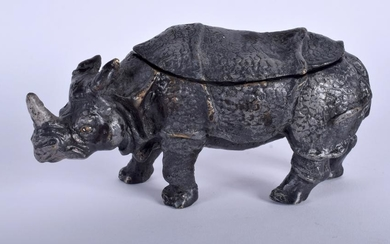 A BRONZE INK WELL IN THE FORM OF A RHINOCEROS, modelled