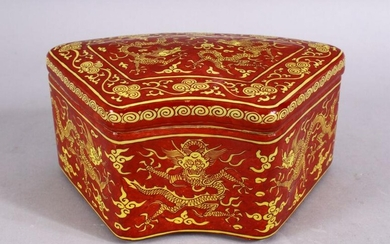 A CHINESE MING STYLE RED GROUND DRAGON PORCELAIN LIDDED