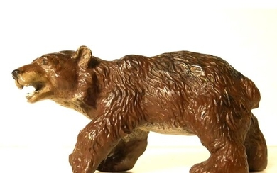 A COLD PAINTED BRONZE FIGURE OF A BEAR Prowling pose, unmark...