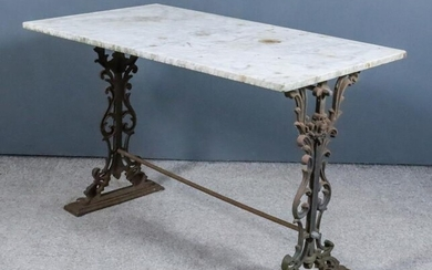 A Cast Iron Rectangular Garden Table, with white veined...
