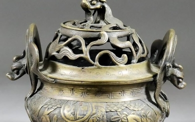 A Chinese Bronze Two-Handled Censer and Cover, 20th Century,...