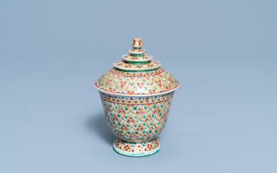 A Chinese Thai market Bencharong bowl and cover, 19th C.