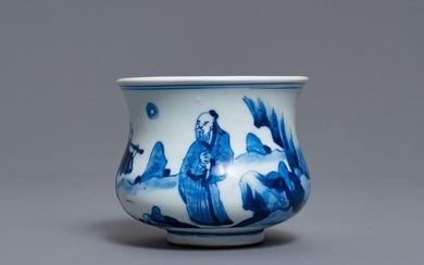 A Chinese blue and white censer with figures...