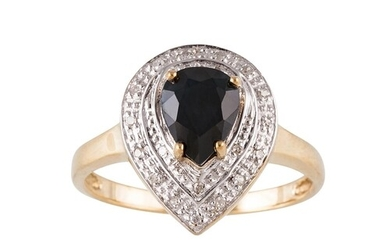 A DIAMOND AND SAPPHIRE CLUSTER RING, pear shaped, set with d...