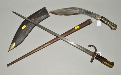 A FRENCH VICTORIAN 'GRAS' RIFLE BAYONET AND SCABBARD, blade ...