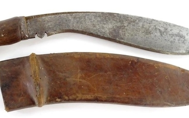 A First World War military Kukri, the curved blade stamped 1...