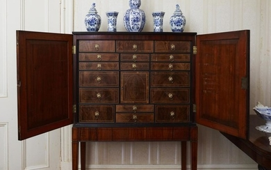 A GOOD LATE 18TH CENTURY ENGLISH COLLECTORS CABINET AND STAND