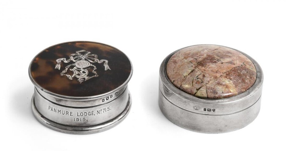 A George V Silver-Mounted Hardstone Snuff-Box and a George V...