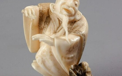 A JAPANESE IVORY NETSUKE OF A BEARDED MAN, SHÅŒWA