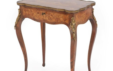 A Louis XV Style Rosewood, Tulipwood and Marquetry Inlaid Table...