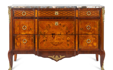 A Louis XVI Style Gilt-Bronze-Mounted Marquetry Commode
