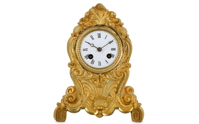 A MID 19TH CENTURY FRENCH GILT BRONZE MANTEL CLOCK IN THE ROCOCO STYLE