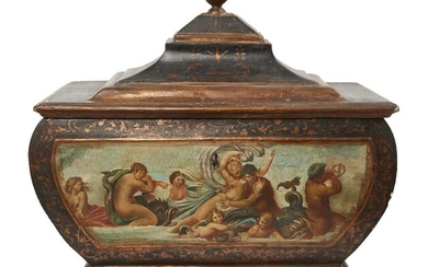 A North Italian polychrome decorated and parcel-gilt casket, 19th century,...