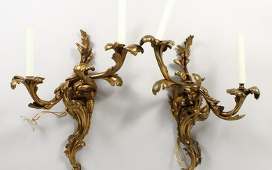 A PAIR OF BRONZE ROCOCO STYLE TWIN-BRANCH WALL