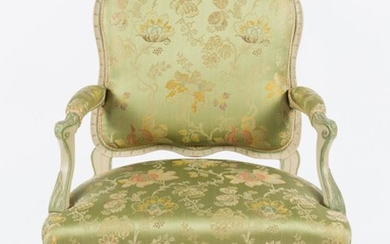 A PAIR OF LOUIS XV STYLE FAUTEUILS IN GREEN SILK UPHOLSTERY, 97CM H. SPECIAL NOTE REGARDING COLLECTION: TO BE COLLECTED FROM EDWARD...