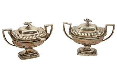 A PAIR OF RUSSIAN GILT-SILVER GRAVY BOWLS & SPPONS