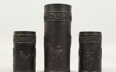 A PAIR OF WEDGWOOD BLACK BASALT SPILL VASES, with