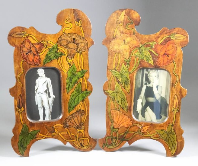A Pair Of Wooden Dressing Table Photograph Frames, Early...