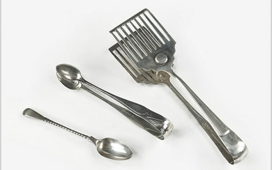 A Pair of English Silver Sandwich Tongs.