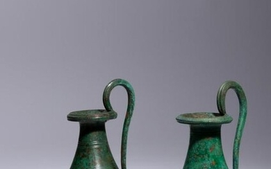 A Pair of Etruscan Bronze Olpai Height 7 3/4 inches.