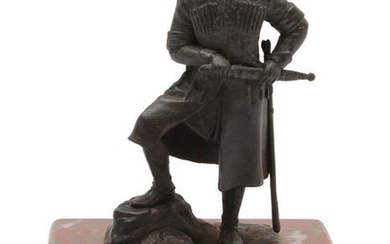 A RUSSIAN BRONZE STATUE OF CHECHEN WARRIOR SHAMIL