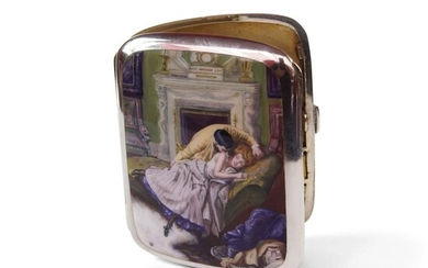A Rare German Silver & Enamel Cigarette Case