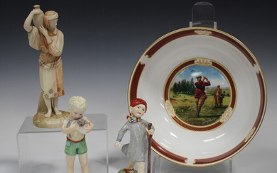 A Royal Worcester blush ivory figure of an Eastern female water carrier, circa 1891, puce printed an