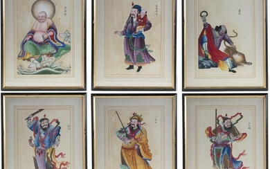 A SET OF SIX PAINTINGS DEPICTING DEITIES, CHINA, 19TH