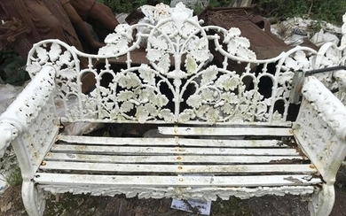A VERY FINE CAST IRON TWO SEATER GARDEN BENCH with Irish Wol...