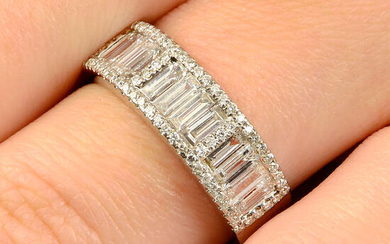 A brilliant and baguette-cut diamond half eternity ring.