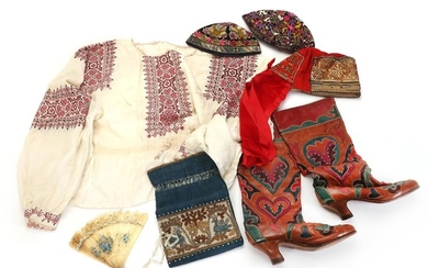 A collection of Russian children carnival garments. Early 20th century. L. from c. 16 cm to c. 55 cm. (8).