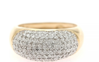 A diamond ring set with numerous single-cut diamonds, mounted in 18k gold and white gold. Size 56.