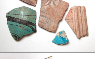 A group of ancient pottery fragments