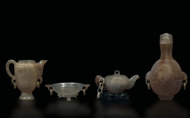 A lot of four agate items, China, 17-1800s