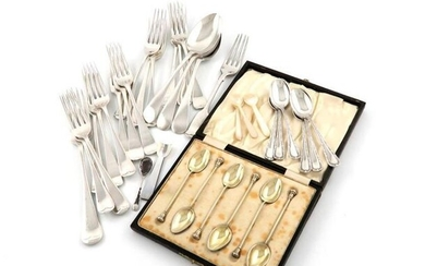 A mixed lot of silver flatware, comprising: fourteen...