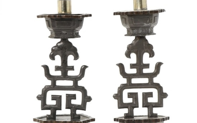 A pair of Chinese late Qing circa 1900 pewter altar candlesticks. H. 26 cm. (2)
