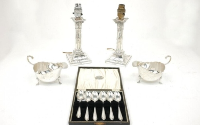 A pair of columnar silver candlesticks, converted...