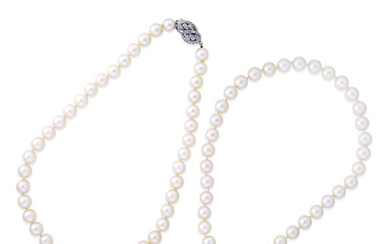 A pair of cultured pearl, diamond, and platinum necklaces...