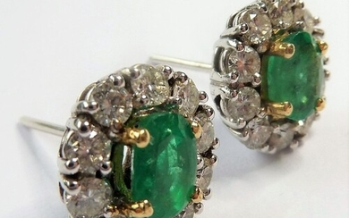 A pair of emerald and diamond cluster ear studs (The cost o...