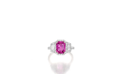 A pink sapphire and diamond ring,