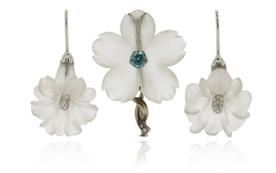 A rock crystal and zircon flower brooch, with...