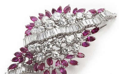 A ruby and diamond brooch set with marquise-cut rubies weighing a total of app. 5.00 ct. and diamonds weighing a total of app. 7.30 ct., mounted in platinum.