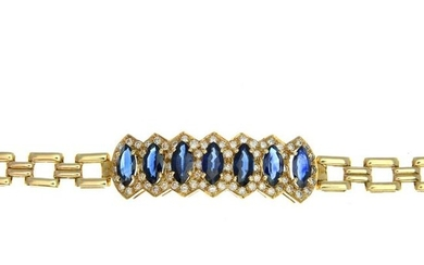 A sapphire and diamond cluster bracelet, with