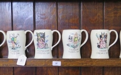A set of seven Crown Devon tankards, each depicting a day of...