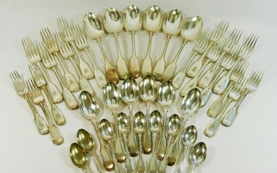 A set of silver plated fiddle and thread pattern cutlery for...