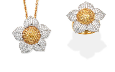 A yellow sapphire and diamond flower ring and pendant necklace suite