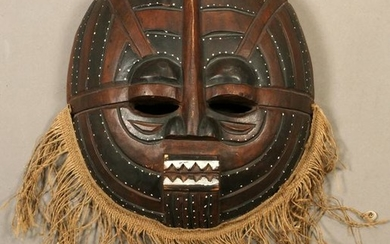 AFRICAN, CARVED WOOD CEREMONIAL MASK, 20TH C