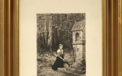AFTER HUBERT SALENTIN GERMAN 1822 1910 ETCHING ON PAPER PRAYER IN THE FOREST