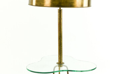 bankers lamp with green glass shade, H.35cm
