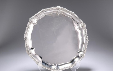 AN EARLY VICTORIAN SILVER SALVER, London 1840, shaped